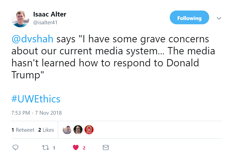 Tweet: Dhavan Shah says the media hasn't learned how to respond to Donald Trump