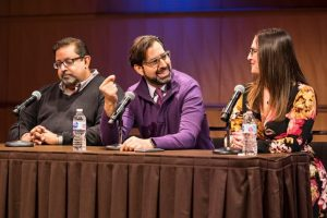 """UW–Madison's Dhavan Shah, NPR's David Folkenflik, and The Capital Times' Jessie Opoien on a Fall 2018 Center for Journalism Ethics panel ocused on """"Media after the Midterms: Journalism in a Contentious Age."""""""