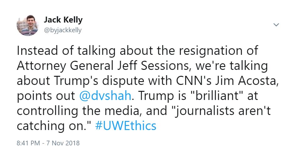 Tweet: Dhavan Shah on Trump dominating the media