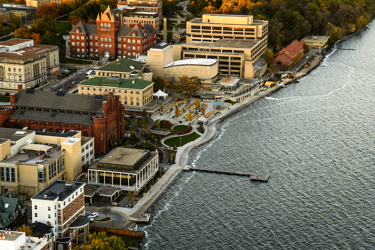Lake Mendota and the University of Wisconsin-Madison campus, including Alumni Park and the Memorial Union Terrace, are pictured in an early morning aerial taken from a helicopter on Oct. 23, 2018. (Photo by Bryce Richter /UW-Madison)