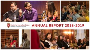 Photo collage from 2018-2019 Center for Journalism Ethics annual report
