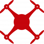 Red graphic showing view of drone from above.