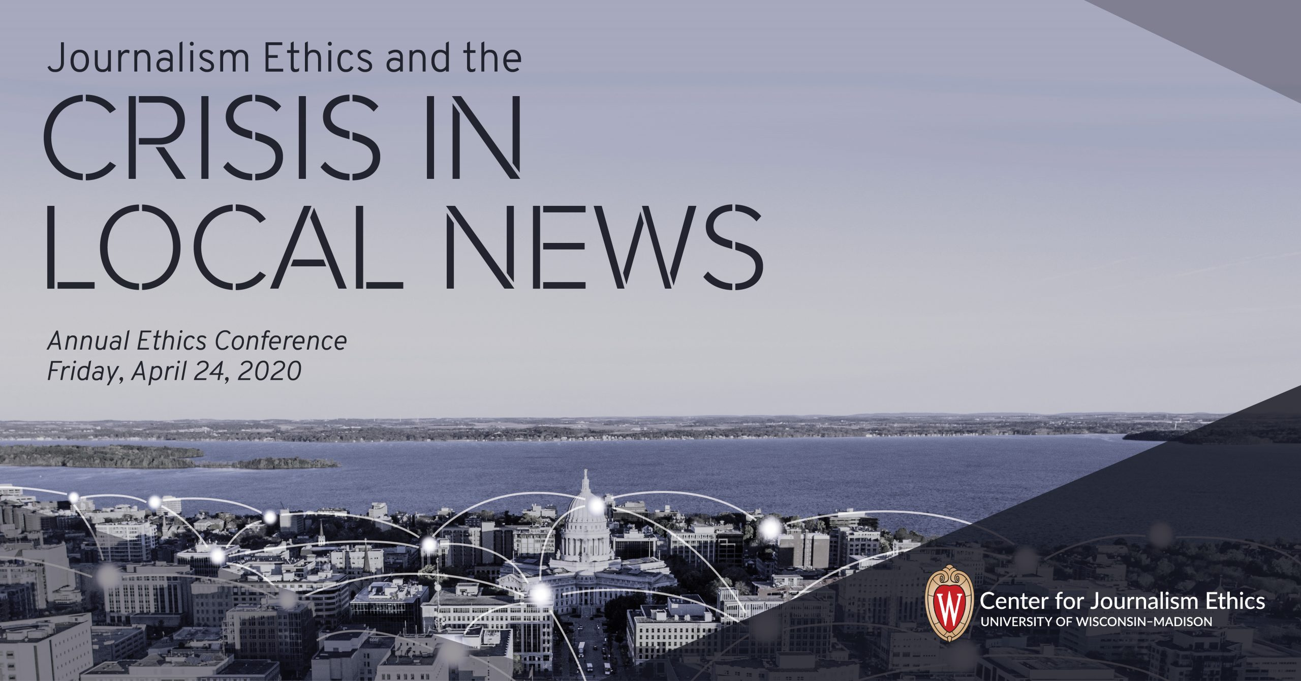 "Banner image showing ""Journalism Ethics and the Crisis in Local News,"" April 24, 2020"