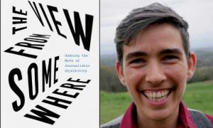 "Photo showing the cover of the book ""The View from Somewhere"" alongside a head shot of author Lewis Raven Wallace"