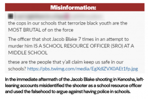 Social media post showing a left-leaning account misidentifying the shooter of Jacob Blake as a school resource officer, and using this falsehood to argue against having police in schools.