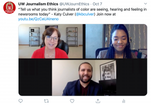 "Image of tweet recapping a question for Wesley Lowery: ""Tell us what you think journalists of color are seeing, hearing and feeling in newsrooms today."" - Katy Culver"