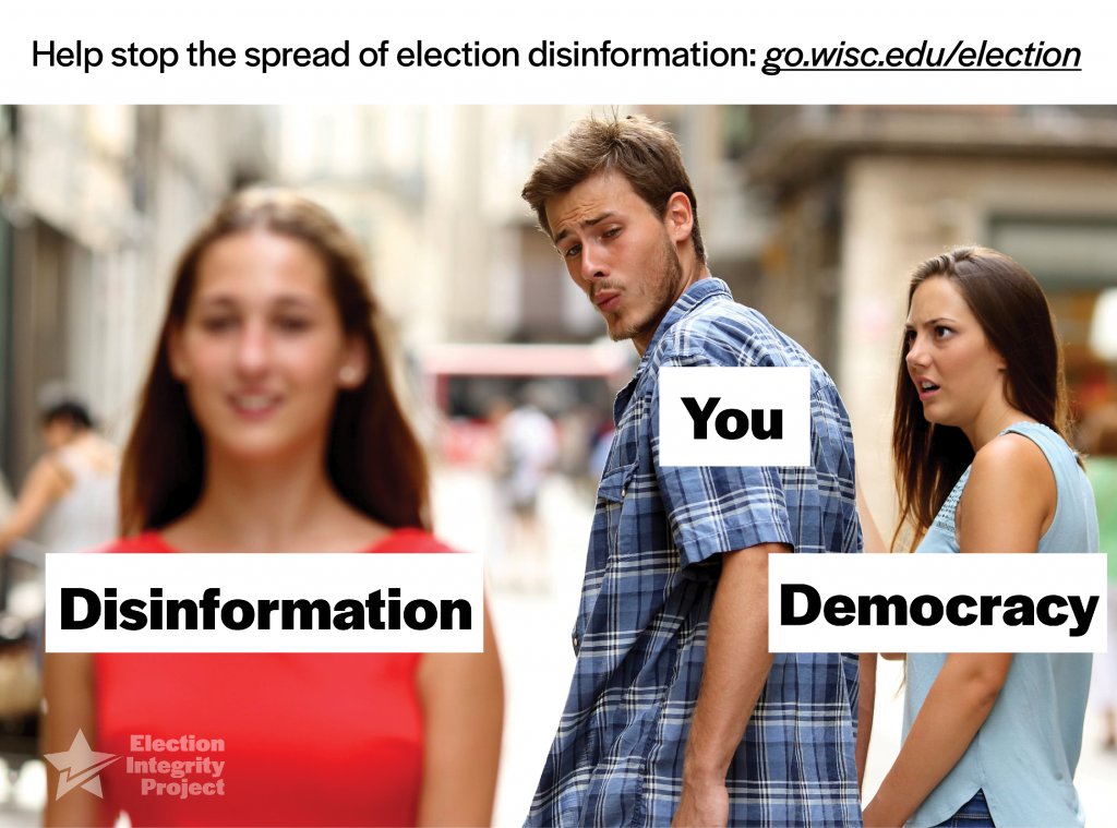 "Internet meme showing a man looking at a woman (""disinformation"") while his girlfriend (""democracy"") looks on unhappy."