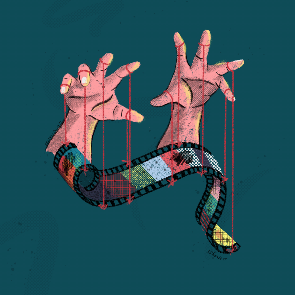 Illustration showing two hands controlling a film strip with puppet strings