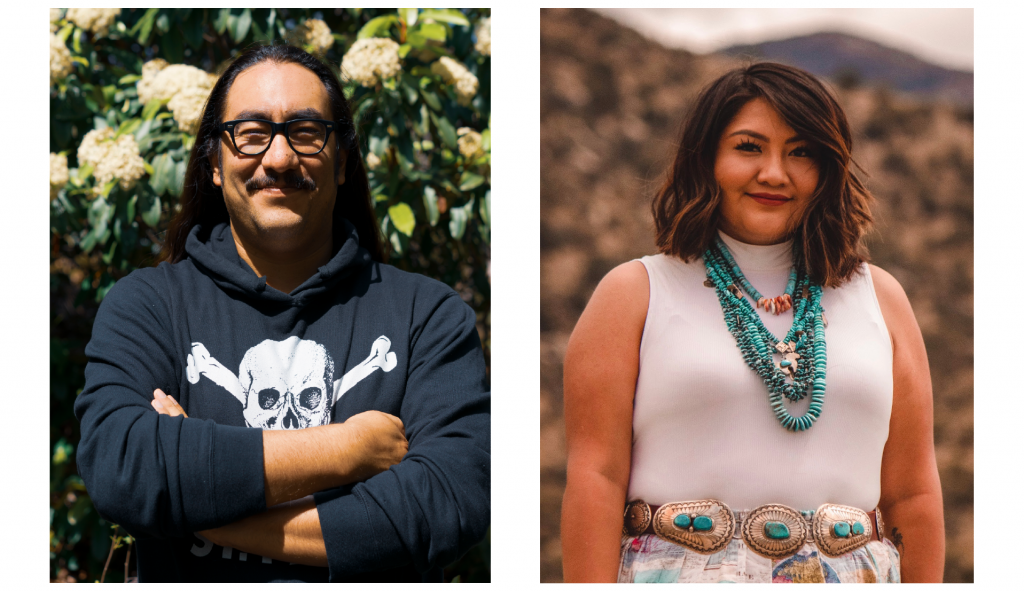 Photos of Texas Observed editor-in-chief Tristan Ahtone (left) and Indigenous affairs reporter Pauly Denetclaw (right).