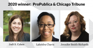 Head shots of Jodi S. Cohen, Lakeidra Chavis and Jennifer Smith Richards