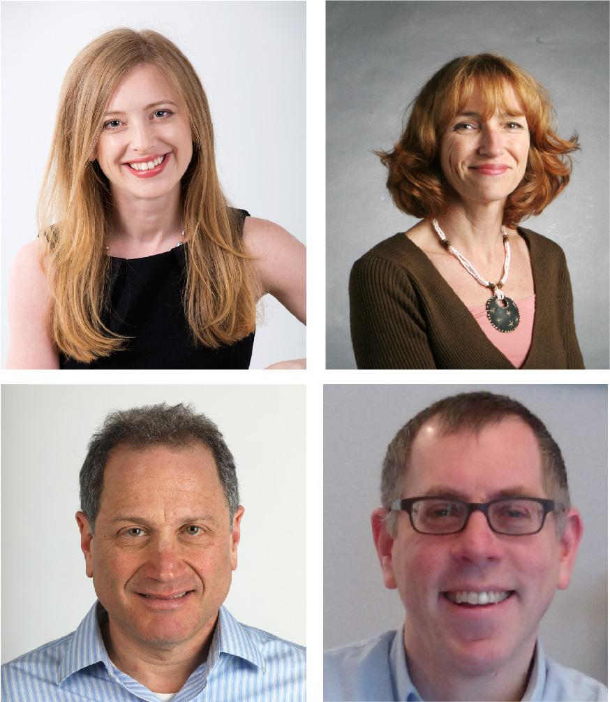 Head shots for Boston Globe reporters Jenn Abelson, Bella English, Jonathan Saltzman and Todd Wallack.