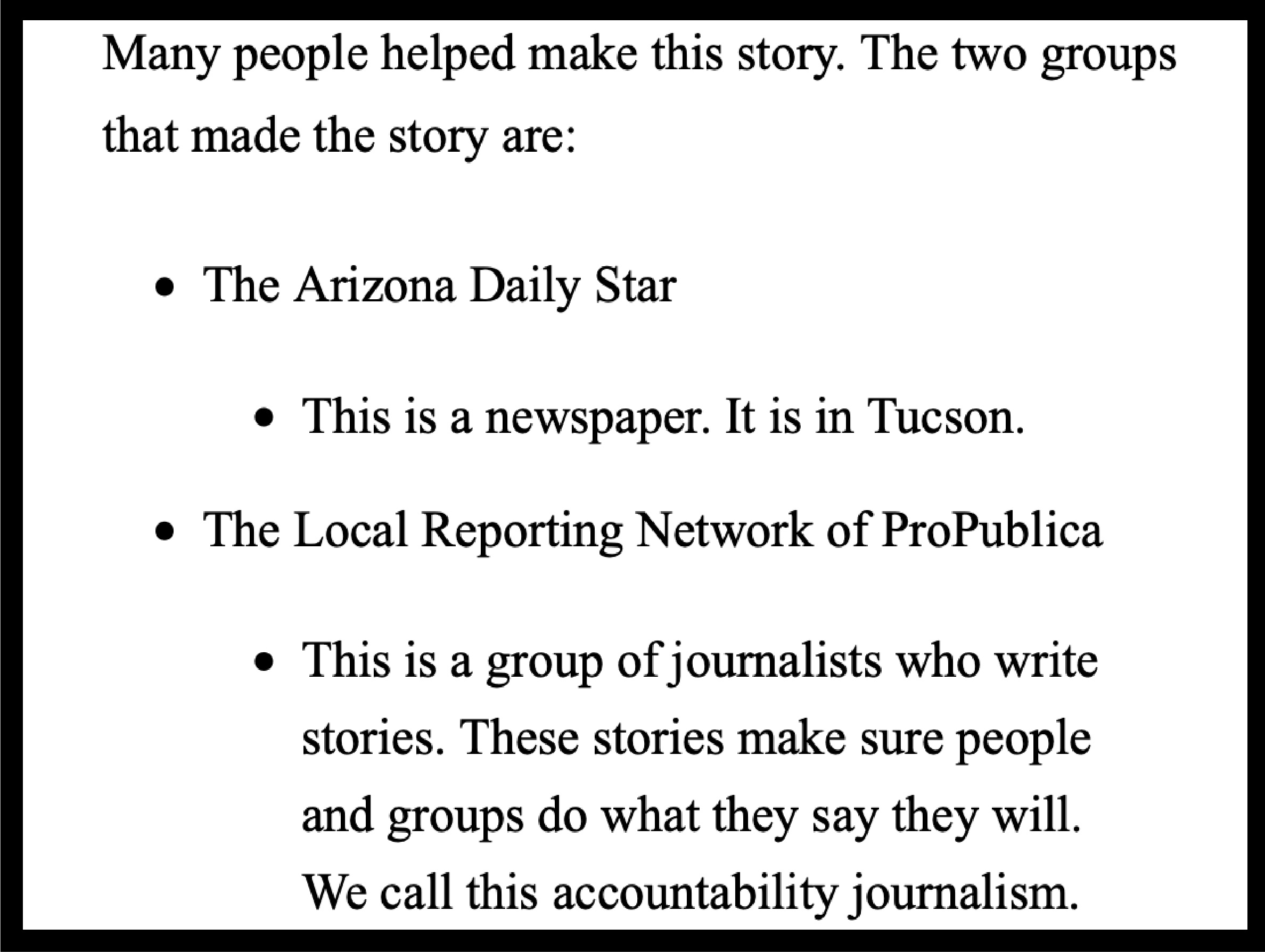 Screen shot of plain language translation describing who the Arizona Daily Star is and who the Local Reporting Network of ProPublica is.