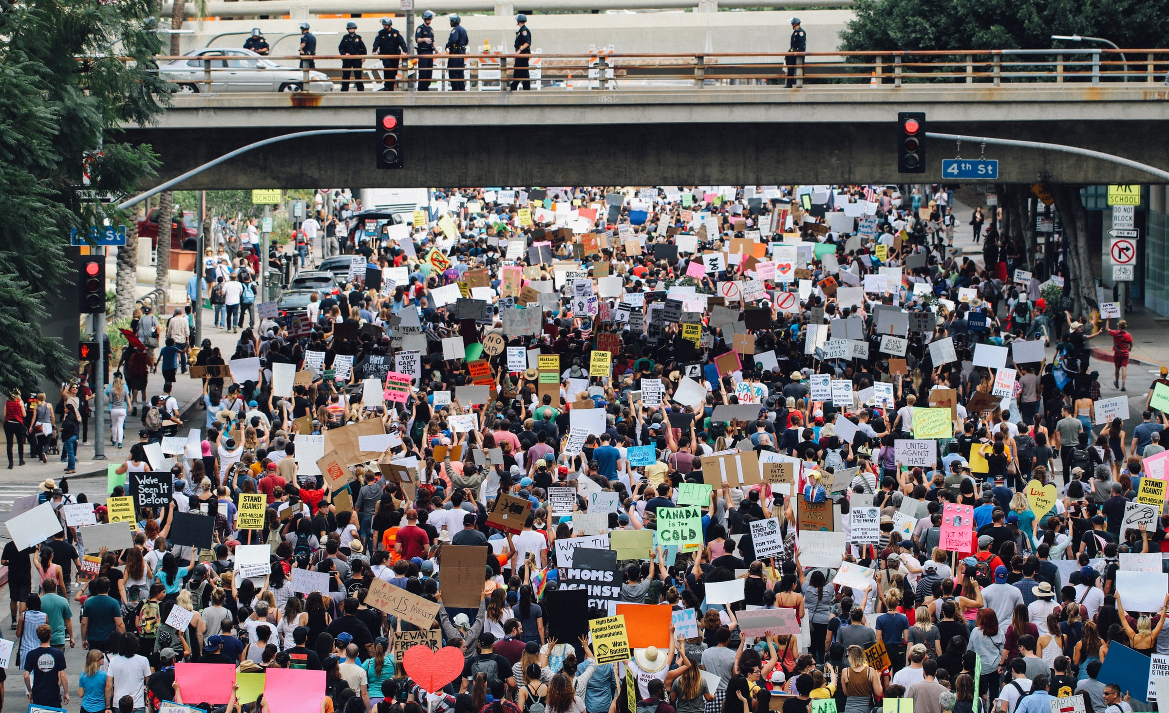 View of large protest in Los Angeles, California in 2017