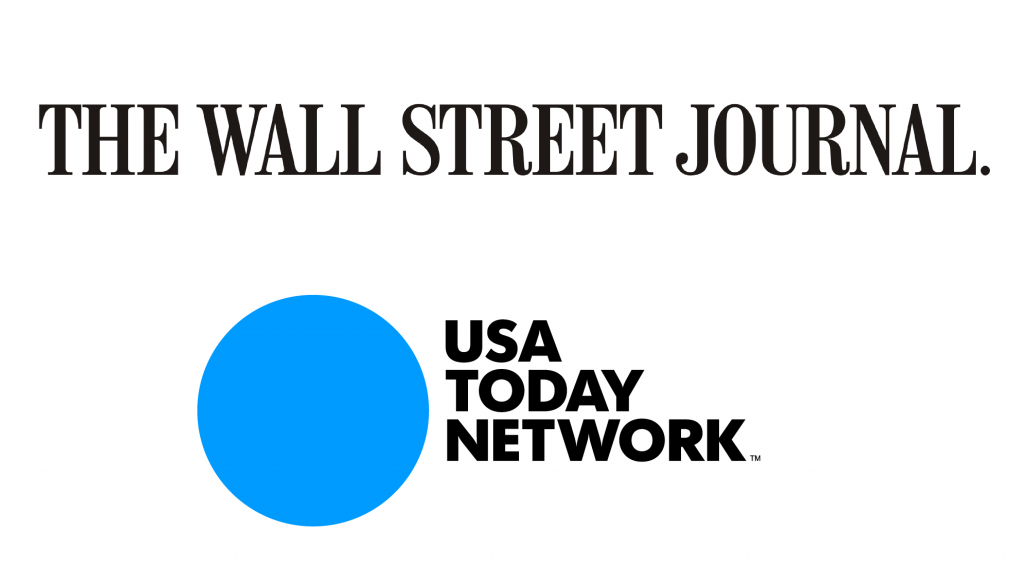 Logos for The Wall Street Journal and USA TODAY Network